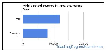 Middle School Teachers in TN vs. the Average State