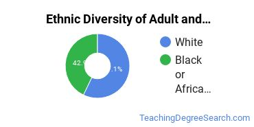Adult Education Administration Majors in DC Ethnic Diversity Statistics