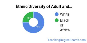Adult & Continuing Education Majors in IL Ethnic Diversity Statistics