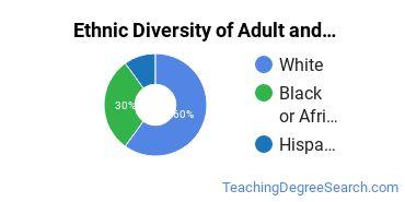 Adult & Continuing Education Majors in LA Ethnic Diversity Statistics