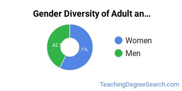 Adult & Continuing Education Majors in WI Gender Diversity Statistics