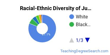 Racial-Ethnic Diversity of Junior High/Intermediate/Middle School Education and Teaching Students with Bachelor's Degrees