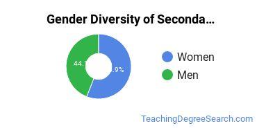 Secondary Education Majors in NE Gender Diversity Statistics