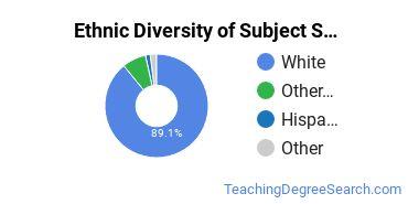Teacher Education Subject Specific Majors in ME Ethnic Diversity Statistics