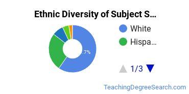 Teacher Education Subject Specific Majors in TX Ethnic Diversity Statistics